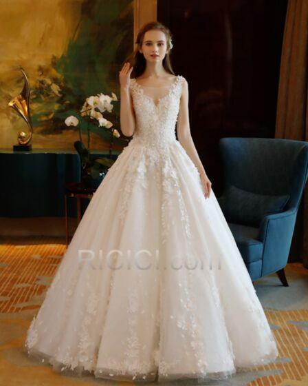 Applikationen Spitzen Elegante Lange Ärmellos Tiefer Ausschnitt Tüll A Linie Weiß Rückenfreies Brautkleid Perlen