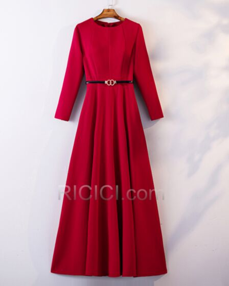 Modest Lange Elegante Lange Ärmel Brautmutterkleider Hochzeitsgäste Kleider Rot Fit N Flare Kleider Für Festliche