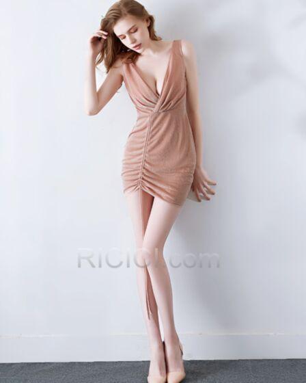 Etui Tiefer Ausschnitt Club Kleid Cocktailkleider Kurze Ärmellos Tüll Rückenfreies Altrosa Sexy