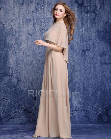 Abendkleid Chiffon Hochgeschlossene Hochzeitsgäste Kleider Brautmutterkleid Modest Empire