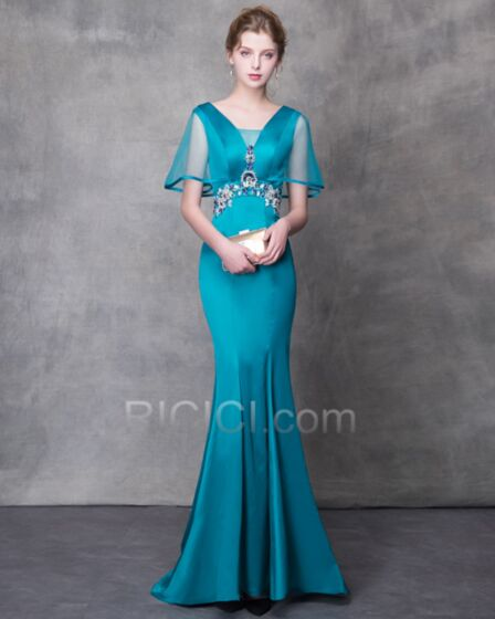 Ballkleider Bleistift Perlen Elegante Tüll Abendkleid Transparentes Tiefer Ausschnitt Rückenausschnitt Türkis Meerjungfrau