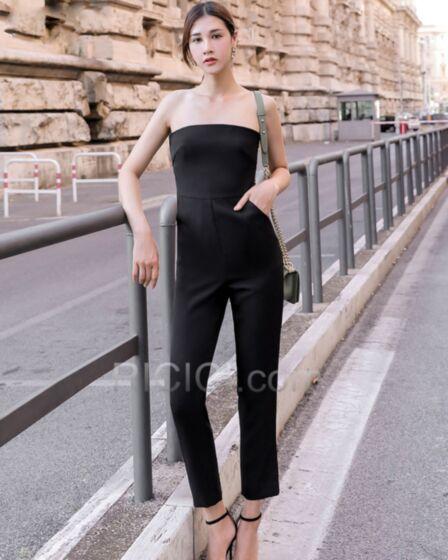 High Waist Maxi Casual Kleid Schwarz Sommer Zigarettenhose Rückenausschnitt Schlichte Jumpsuit