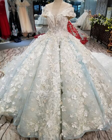 Spitzen Tiefer Ausschnitt Quinceanera Kleid Luxus Hellblau Ballkleid