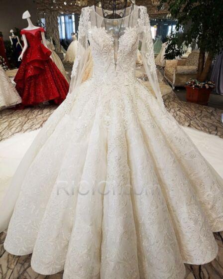 Lange Ärmel Brautkleider Transparentes Umstands Schönes Weiss Rückenausschnitt Spitzen Perlen