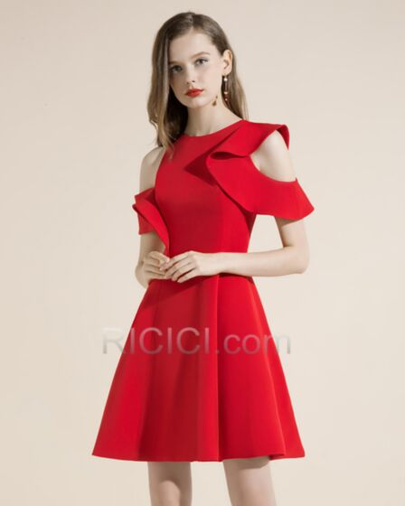 Cocktailkleid Rüschen Schlichte Kurze Rot Rundhalsausschnitt Ärmellos Fit N Flare Kleider Hochzeitsgäste