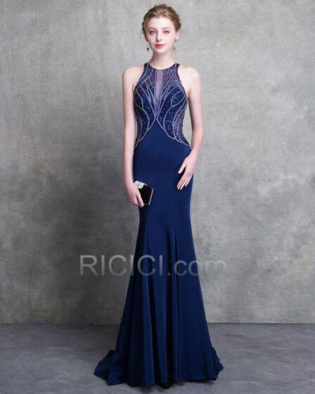 Tiefer Ausschnitt Sexy Etui Royalblau Rückenausschnitt Lange Abendkleider Sommer