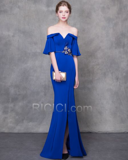 Abendkleid Royalblau Sexy Sommer Halbe Ärmel Schulterfreies Lange Satin Bleistift Tiefer Ausschnitt Rückenausschnitt Glockenärmel