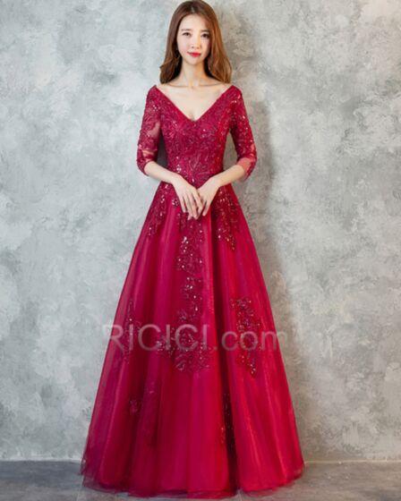 Elegante Applikationen Kleider Für Festliche Rückenausschnitt Lange Ballkleid Abendkleid Spitzen Verlobungskleid Halbe Ärmel Tiefer Ausschnitt Prinzessin