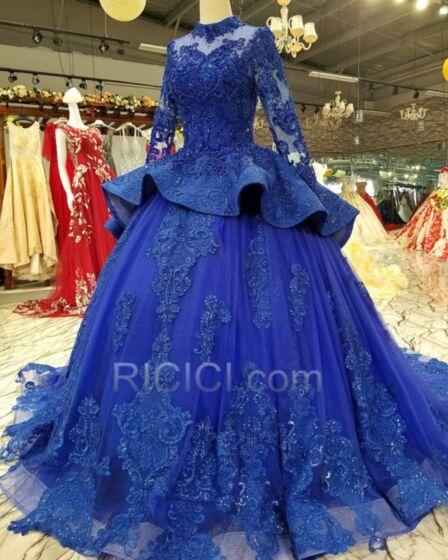 Royalblau Rüschen Lange Lange Ärmel Partykleider Vintage Schößchen Verlobungskleid Ballkleider Hochgeschlossene Spitzen Modest Elegante