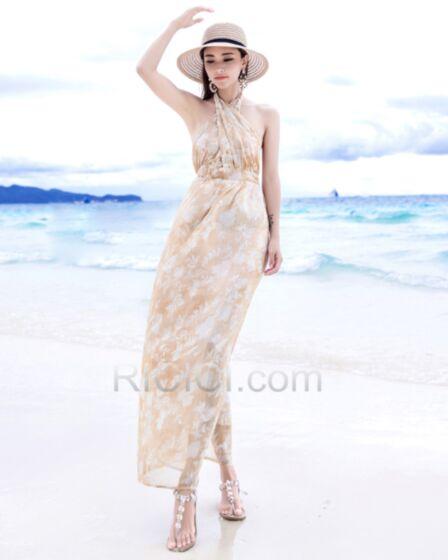 Strandkleidung Maxi Kleid Sommer Bohemian Rückenausschnitt