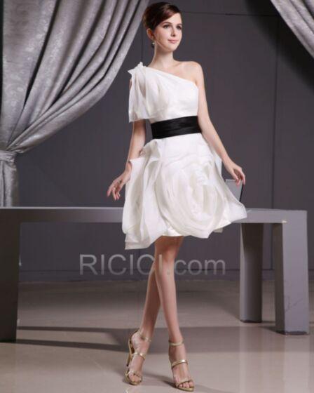 Tüll Kurze Cocktailkleid One Shoulder Elegante Petticoatkleid 3D Blumen Rüschen Weiß Organza