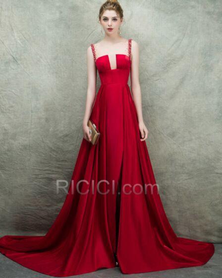 Ballkleid A Linie Rot Ärmellos Abendkleid Rückenfreies Perlen Fit N Flare Lange Sexy