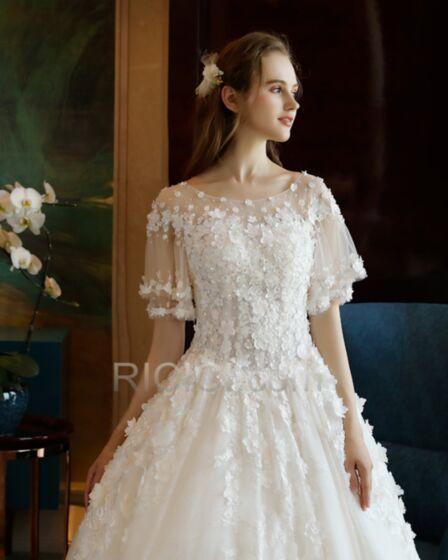 Sommer Boho Tüll Kurzarm Lange Applikationen Spitzen Hochzeitskleider Weiß Transparentes