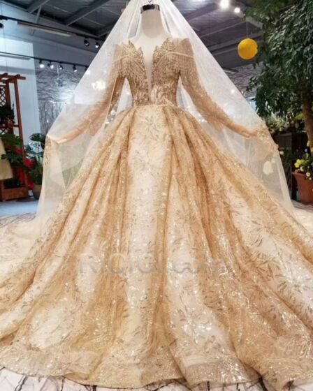 Petticoatkleid Lange Ärmel Tiefer Ausschnitt Brautkleider Luxus Pailletten Glitzernden Gold Tüll