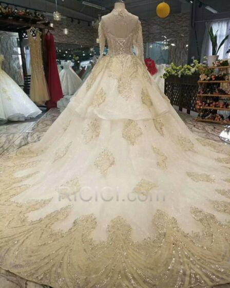 Prinzessin Glitzernden Spitzen Pailletten Creme 2019 Hochzeitskleider Lange Lange Ärmel Luxus Mit Fransen Stickerei