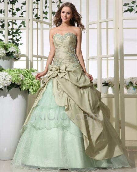 Quinceanera Kleider Ärmellos Petticoatkleid Taft Rüschen Partykleider Rückenausschnitt Salbeigrün Ballkleider Vintage Perlen