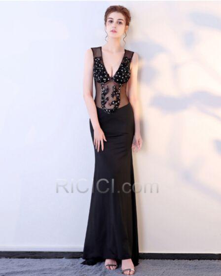 Transparentes Pailletten Abendkleider Tiefer Ausschnitt Etui Rückenausschnitt Ärmellos Roter Teppich Kleider Schwarz Lange Sexy
