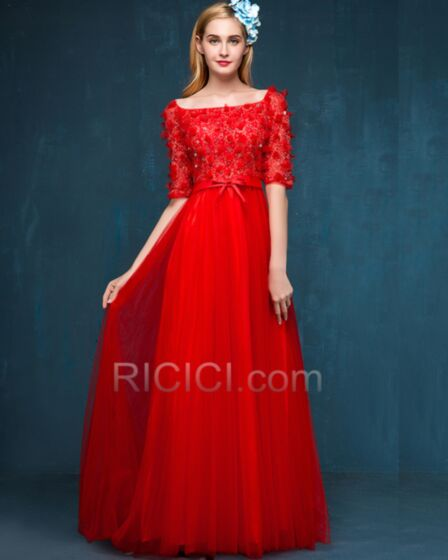 Rundhalsausschnitt Applikationen Tüll Rot Brautjungfernkleider Halbe Ärmel Bohemian Spitzen Lange