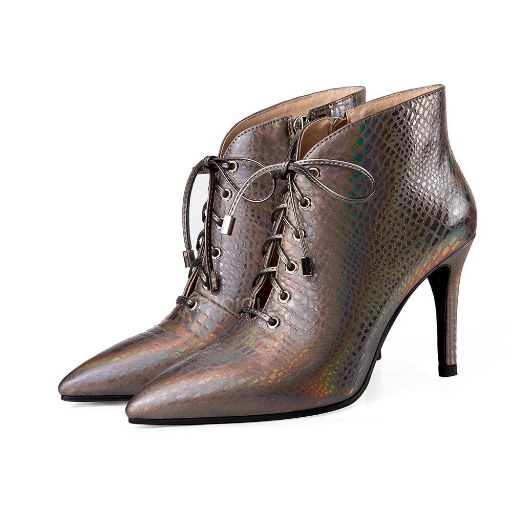 Haut Femme Paillettes Casual Cuir Verni À Lacets Bottines à Talon Haut Chaussures