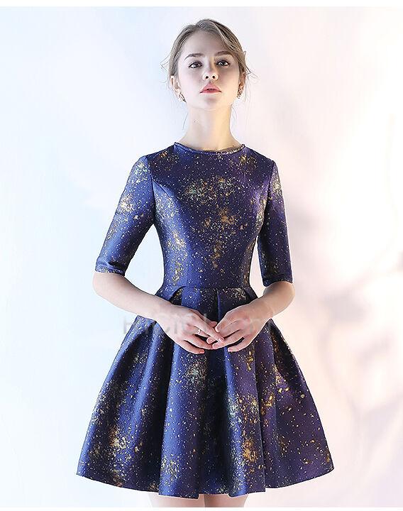 Bleu Marine Taffetas Demi Manche Courte Robe Cocktail 2018 Belle Pas Cher Ricici Com