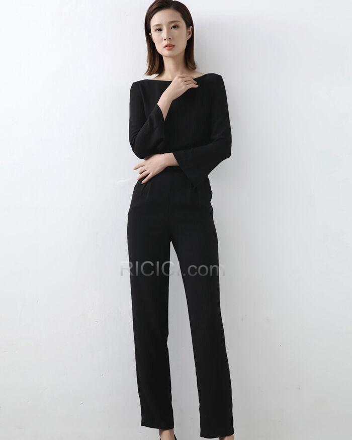 Simple Robe Casual Manche Longue Maxi Fourreau Combinaison Pantalon En Ligne Ricici Com