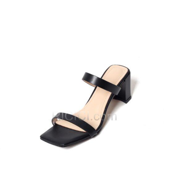 Mittel Heels Schwarz Chunky Heel 6 cm Sandaletten Schlichte Mit Absatz