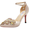 Satin Rhinestones Elegant With Ankle Strap 8 cm High Heel Stilettos Bridals Wedding Shoes Champagne Gold Pointed Toe Sandals For Women