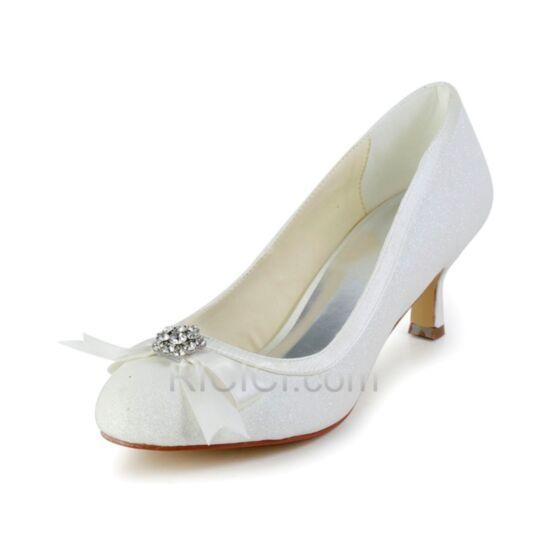 グリッター ポイン テッド トゥ 蝶結び ホワイト ミッド ヒール キラキラ 結婚式 靴 ピンヒール パンプス 10420180415