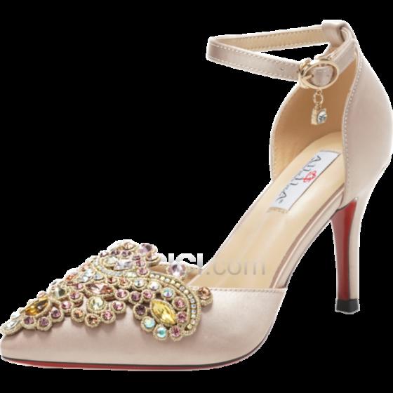 サテン サンダル レディース クリスタル ハイヒール ピンヒール ハイヒール アンクルストラップ 結婚式 靴 エレガント ポイン テッド トゥ 17220181224