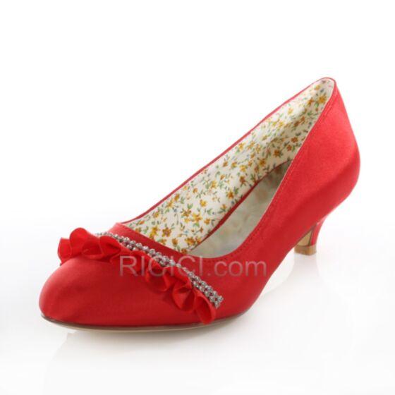 パンプス ローヒール サテン 結婚 式 靴 ピンヒール フリル ヒール ポイン テッド トゥ 20170823201