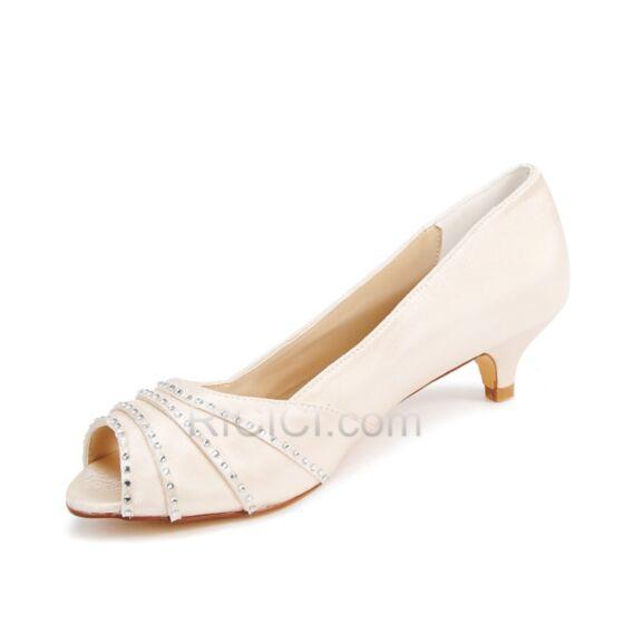 ローヒール 結婚式 靴 ピンヒール ローヒール ヒール オープン トゥ クリスタル パンプス サテン 20170905726