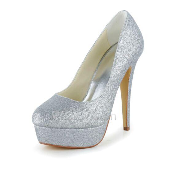 ポイン テッド トゥ 厚底 グリッター シルバー パーティー 靴 キラキラ ヒール 結婚 式 靴 ハイヒール ハイヒール 13cm パンプス 20170905578