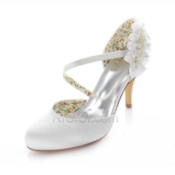 結婚式 靴 サテン ホワイト ハイヒール ポイン テッド トゥ フラウンス ハイヒール 8センチ アンクルストラップ ヒール ピンヒール パンプス シューズ レディース 20170825812