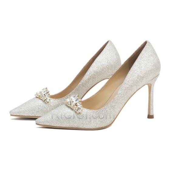クリスタル キラキラ 結婚式 靴 グリッター ポイン テッド トゥ シャンパン ピンヒール ハイヒール 20020181220