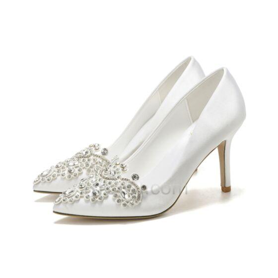 ピンヒール ホワイト ハイヒール 結婚 式 靴 ポイン テッド トゥ エレガント パンプス クリスタル 45620181217
