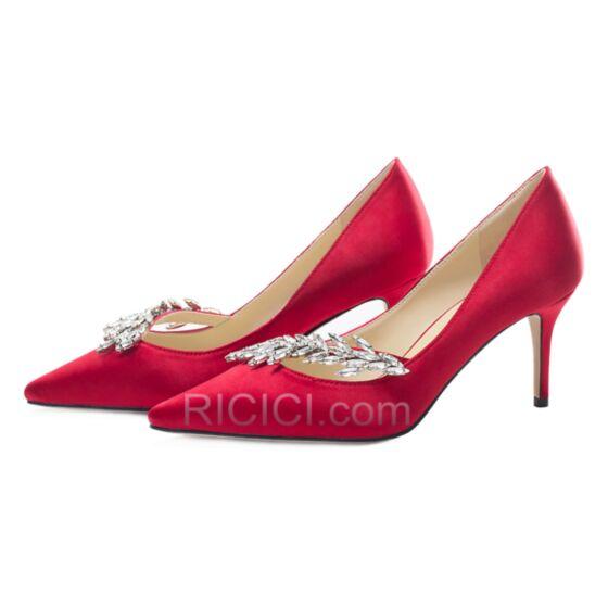 ピンヒール レッド パーティー 靴 エレガント ポイン テッド トゥ サテン パンプス 87620181220