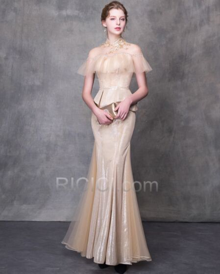 Appliques Sheath High Neck Formal Evening Dresses Long Sweetheart Tulle Glitter Sparkly Prom Dresses Gorgeous