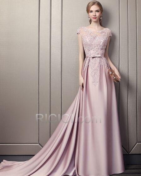 ボート ネック ロング パーティー ドレス レース エレガント ノースリーブ フレア ピンク サテン フォーマル ドレス 13720180623