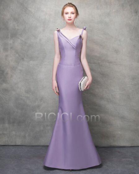 イブニングドレス バックレス 結婚式ドレス 同窓会 サテン ラベンダー v ネック シンプル な エレガント ロング 14120180422