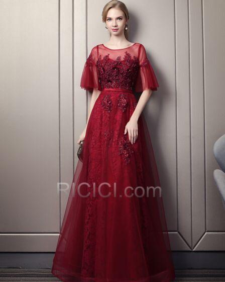 A ライン ワイン レッド ロング バックレス レース エレガント チュール フォーマル ドレス 14420180614
