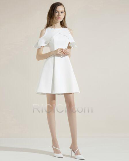 フレア ホワイト ショート サテン オケー ジョン ドレス 半袖 カクテル ドレス シンプル な セミ フォーマル 15120180804