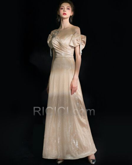 ロング エレガント ビーズ 半袖 ゴールド パーティー ドレス グリッター ゴージャス イブニングドレス Aライン バックレス 15320180827
