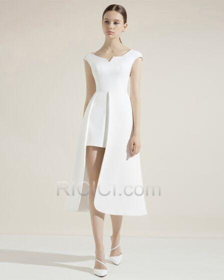 シース ノースリーブ スリット v ネック セミ フォーマル ドレス カクテル ドレス 卒業 式 白 サテン ミニ 17020180806