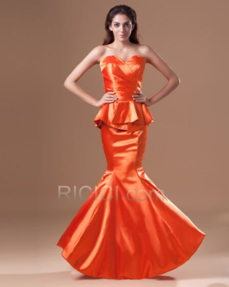 ロング マーメイド オレンジ パーティー ドレス オフショルダー フォーマル イブニングドレス サテン シース 結婚 式 ドレス 18820171010