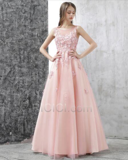ロング オケー ジョン ドレス 可愛い プロムドレス ピンク オープンバック 成人式ドレス A ライン レース 20170918528