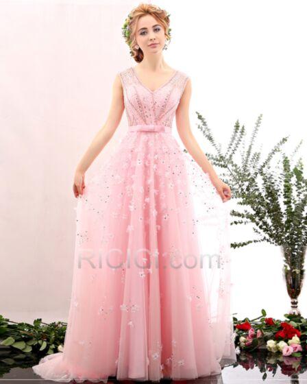 可愛い ピンク ブライズメイドドレス 豪華 な 成人式ドレス チュール レース ノースリーブ プロムドレス スパンコール 20171107215