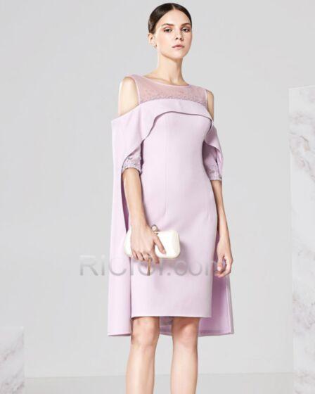 フレア 袖 カクテル ドレス 成人式 パーティー ドレス エレガント 可愛い バックレス 半袖 ライラック 膝丈 20170904786