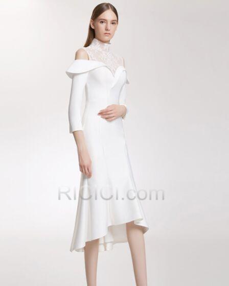 ミモレ丈 結婚式 母親 ドレス フォーマル イブニングドレス ハイネック ホワイト レース サテン 20170904966