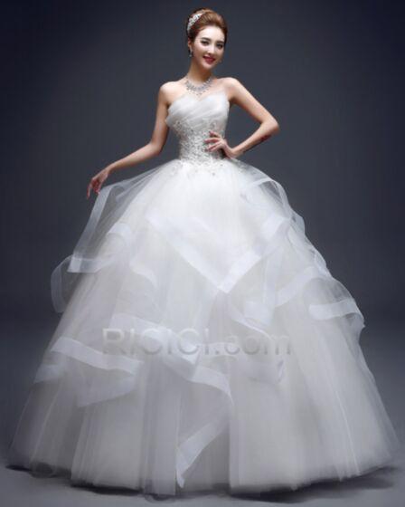 ロング プリンセス フリル ホワイト ウエディング ドレス 古着 20170826894