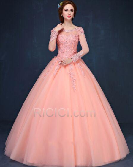 プリンセス キラキラ プロムドレス ロング パーティー ドレス カラードレス 可愛い 長袖 コーラル ピンク 20170913862